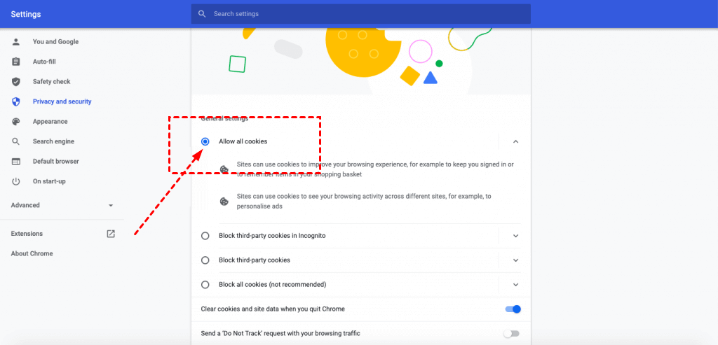 Google Allow All Cookies