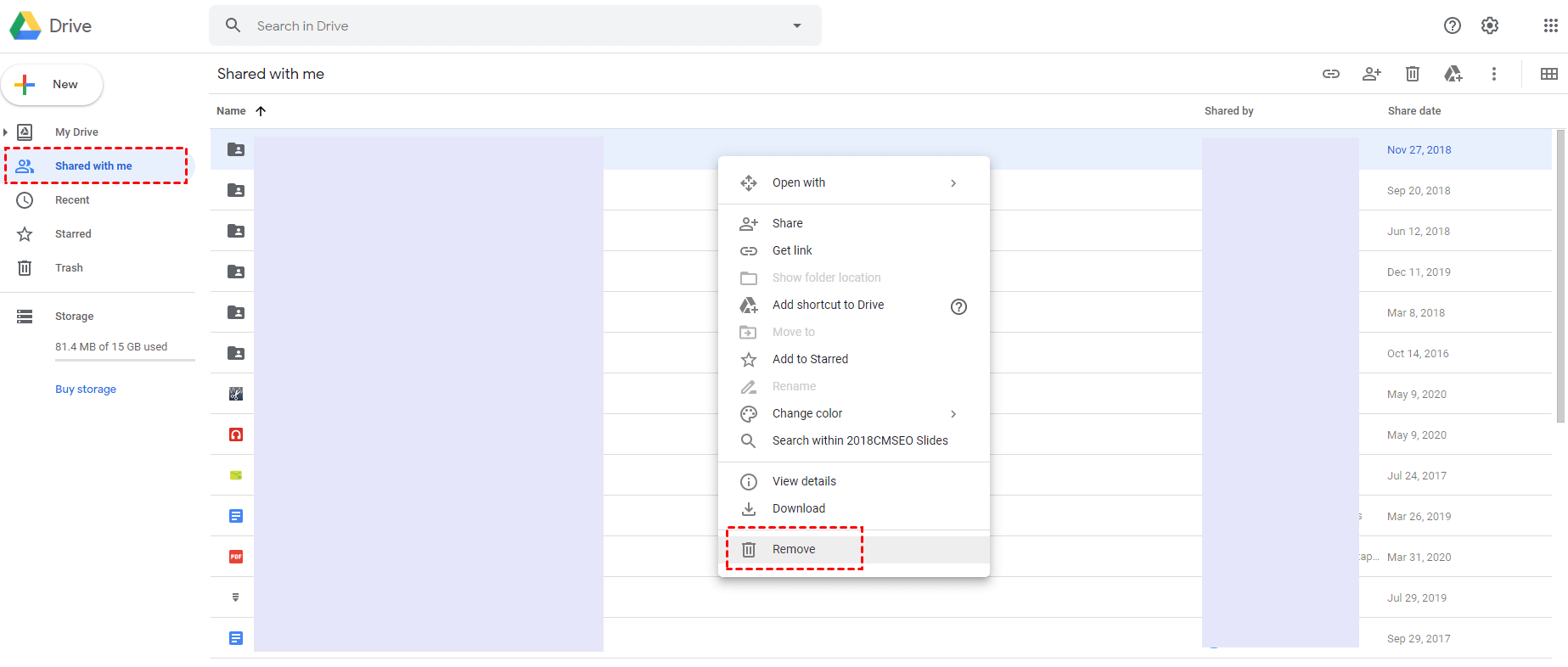 Remove Shared Folders and Files