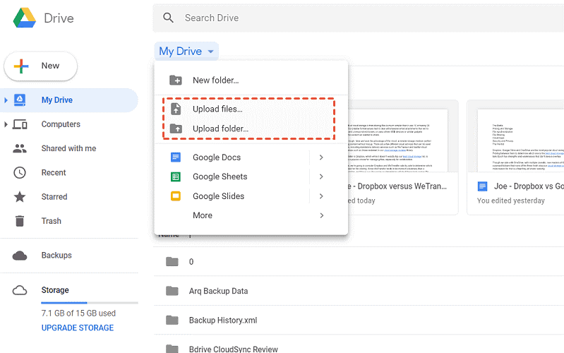 Upload Files To Google Drive