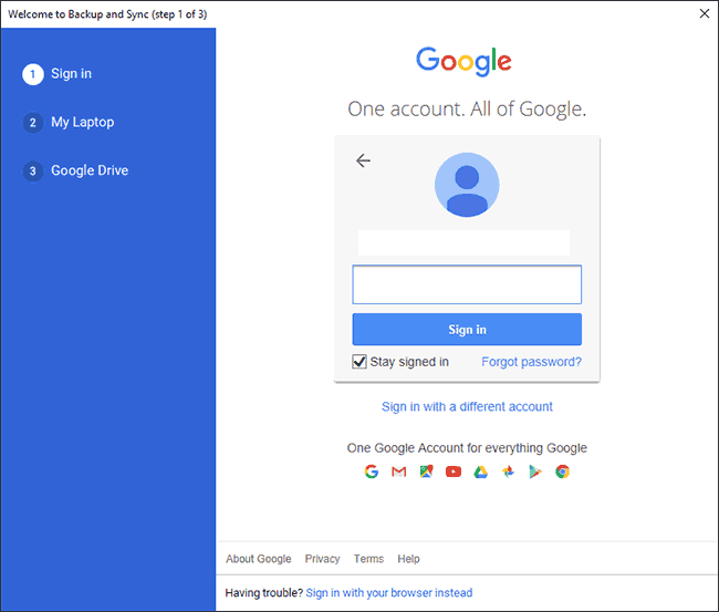 Google Sync Sign In