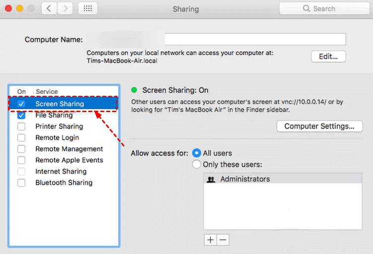 Turn off Screen Sharing in Mac