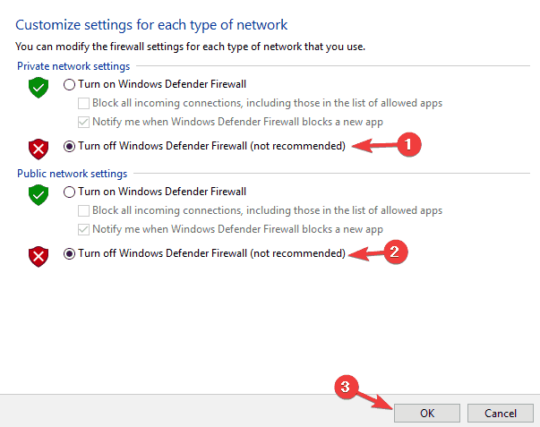 Turn Off Windows Defender Friewall
