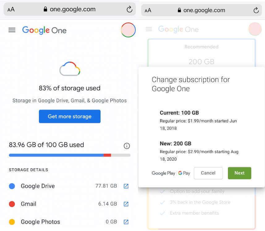 Google One Update Storage