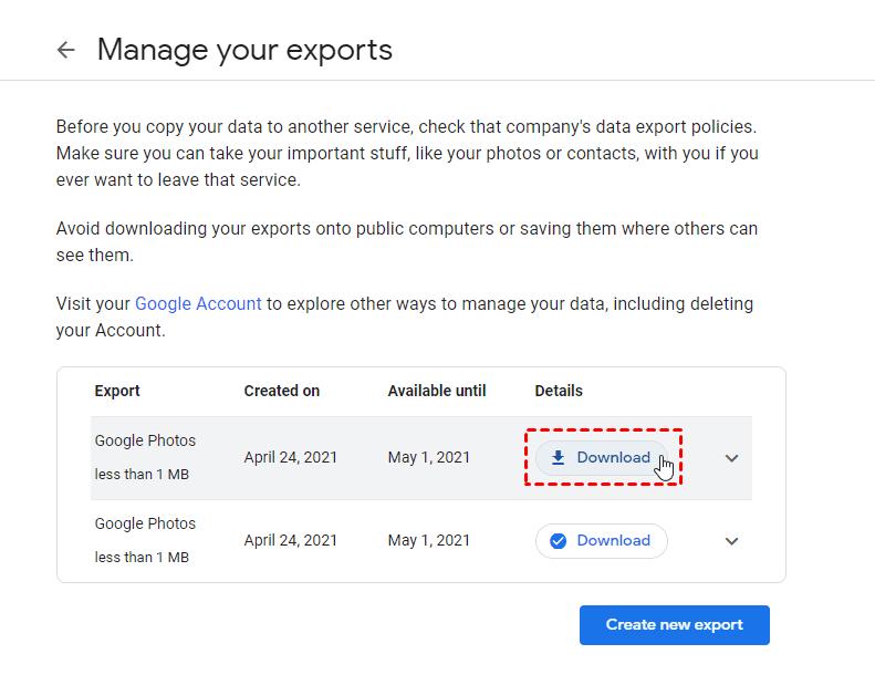 Google Photos Export Download