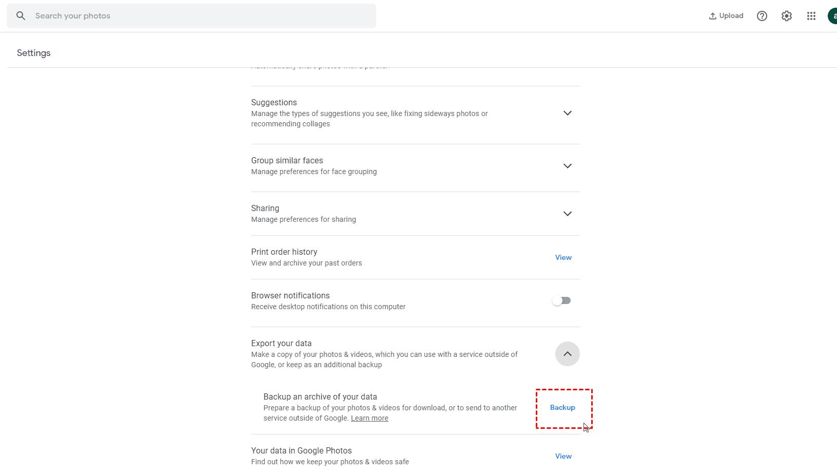 Google Photos Export Your Data Backup