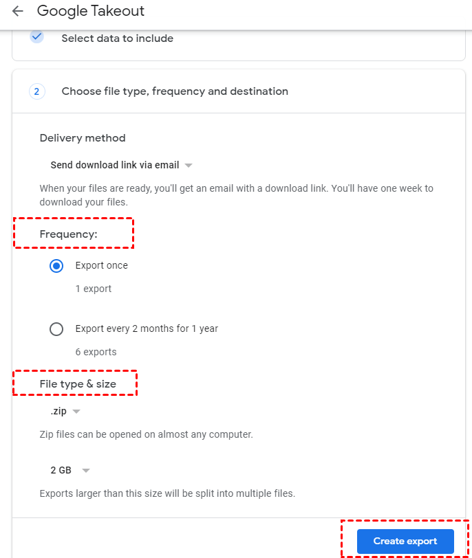 Google Takeout Select Create Export