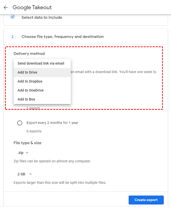 Google Takeout Select Delivery Method