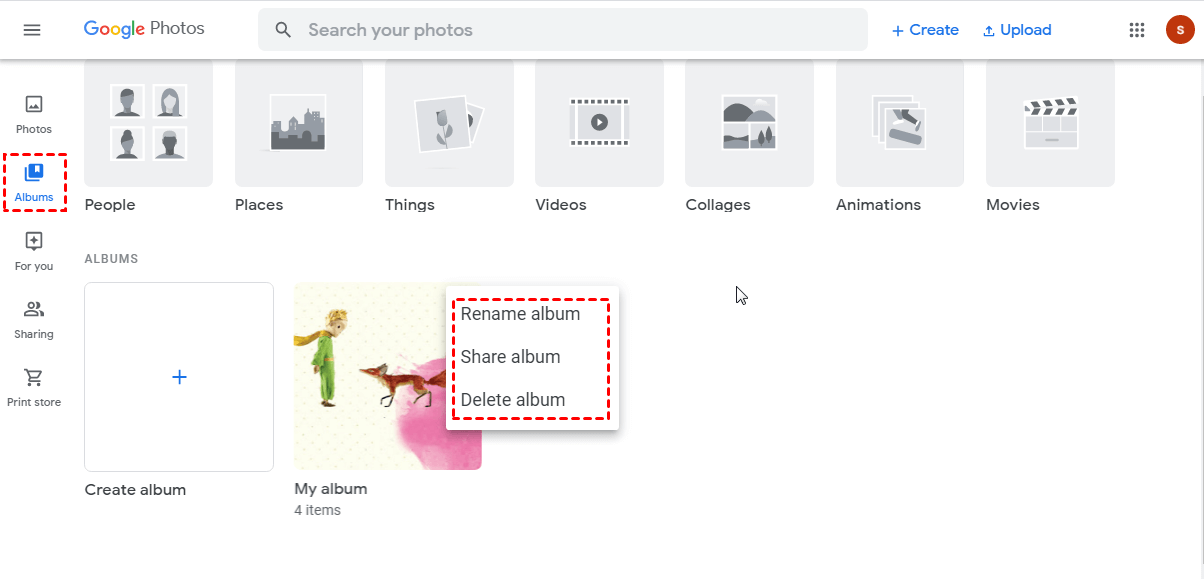 Google Photos Move to Album
