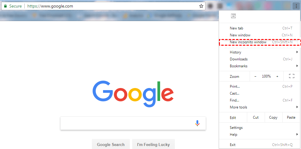 new incognito window