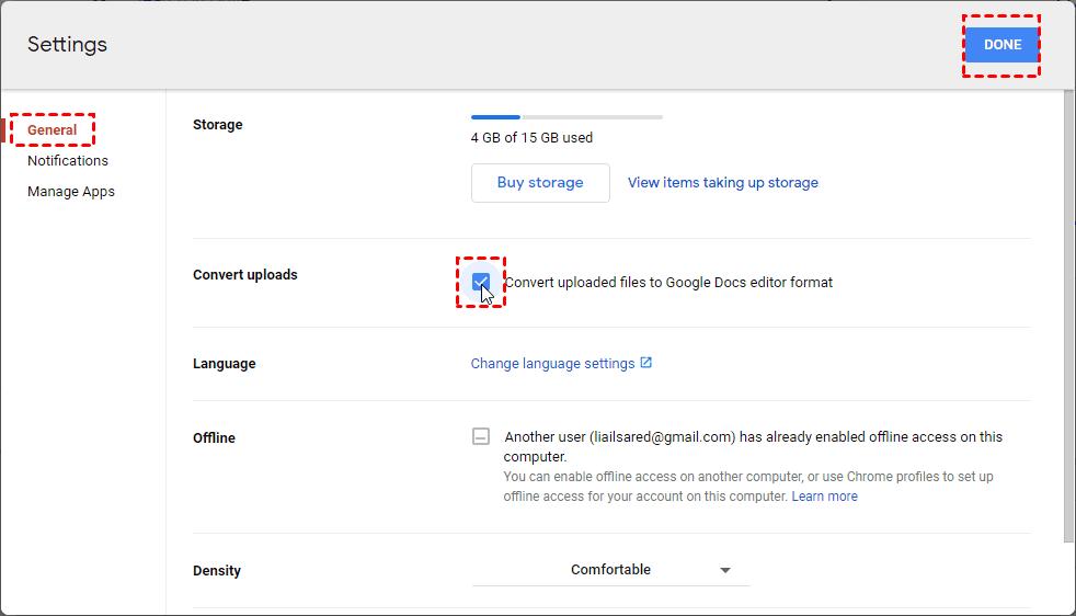 Convert Uploaded Files to Google Docs Editor Format