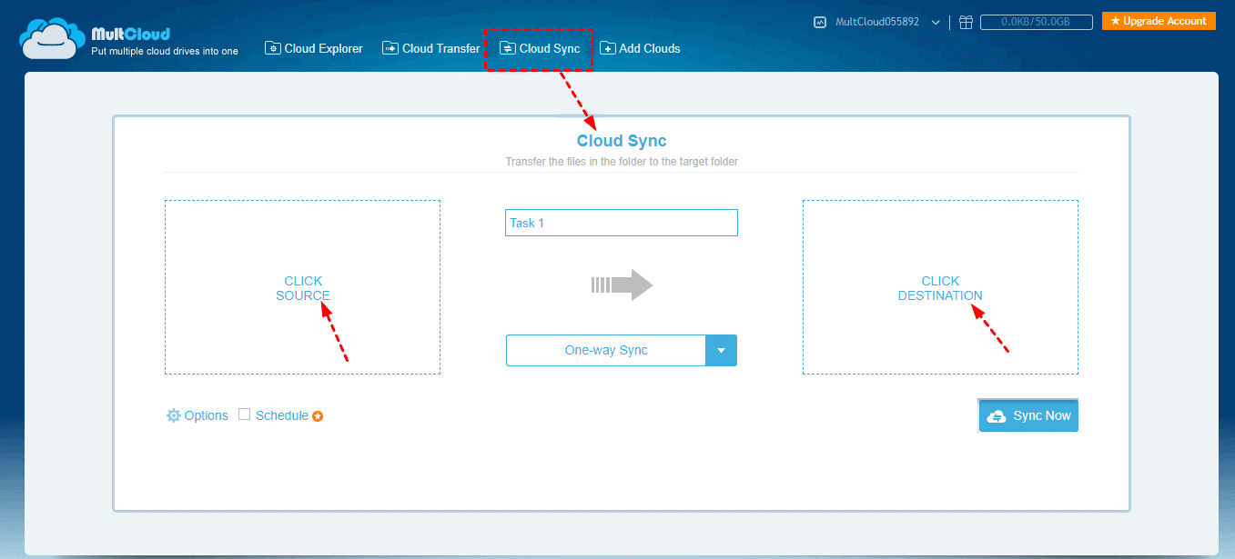 Add Sync Source Destination