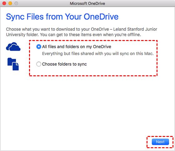 Choose Sync Folder