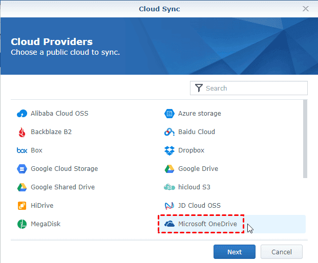 Synology Cloud Sync Select Onedrive