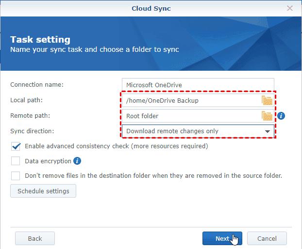 Synology Cloud Sync Select Source Destination Direction