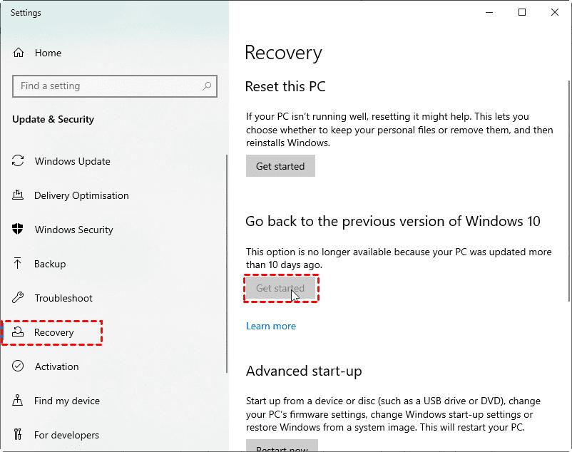 Windows 10 Update Rollback