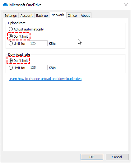 Onedrive Don't Limit Upload And Download Rate