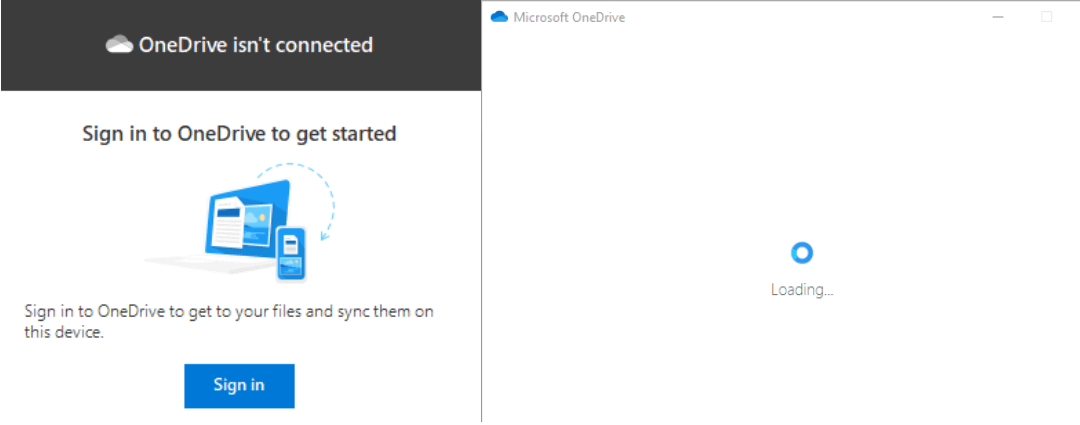 Onedrive isn't connected