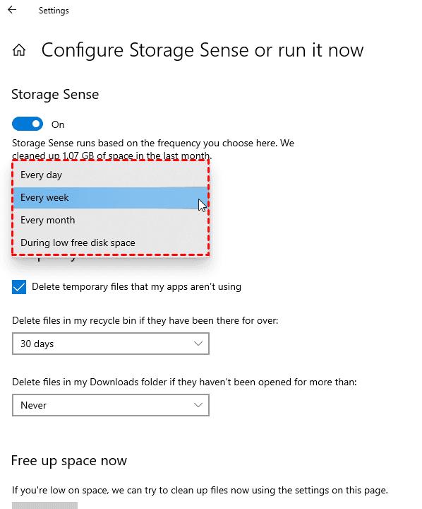 Run Storage Sense Regularly