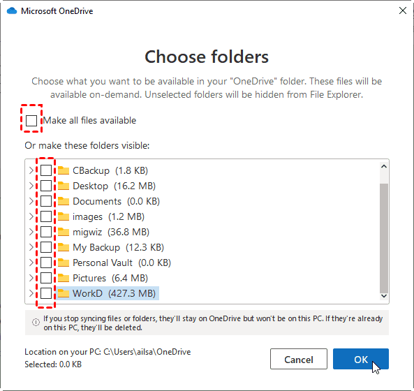 Unselect Make All Files Available