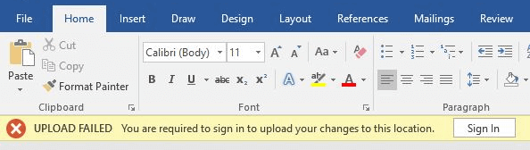 OneDrive Upload Failed You are required to sign in