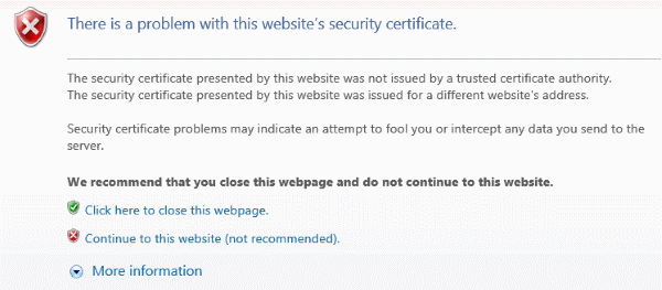 There is a problem with this websites security certificate