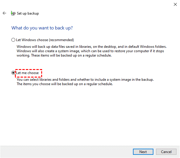 Choose Backup Files