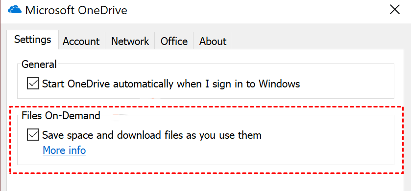 Enable Files On Demand