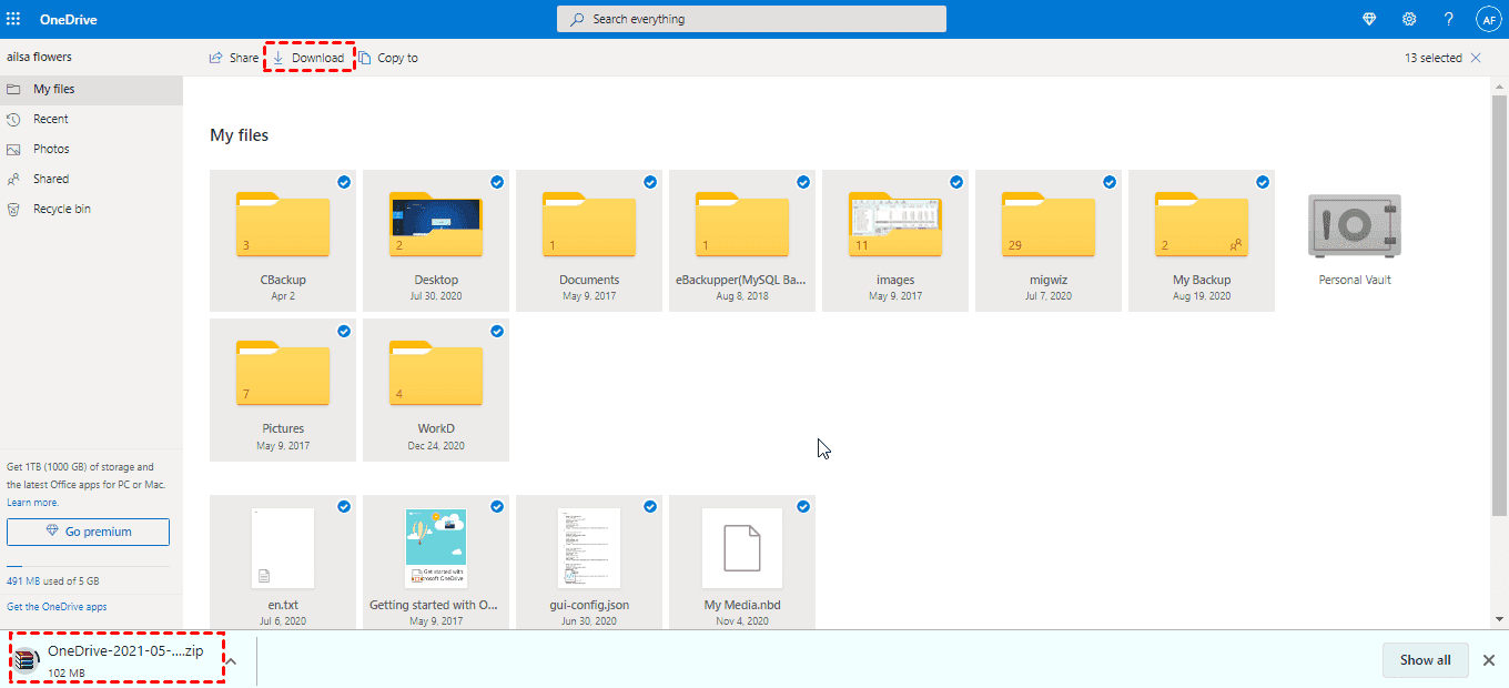 OneDrive Download All Files