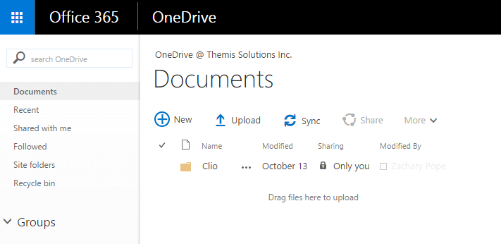Onedrive Main Page