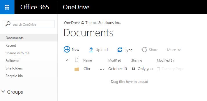 OneDrive Main Page