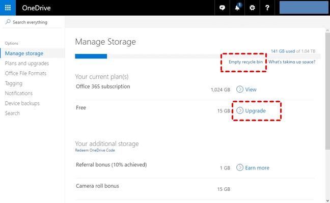 OneDrive Manage Storage