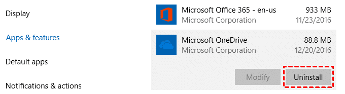 Uninstall OneDrive