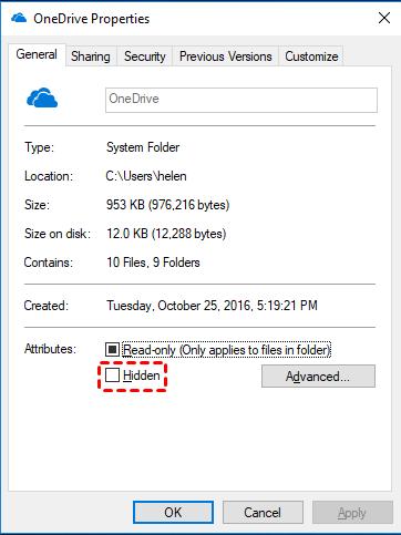 Hidden OneDrive