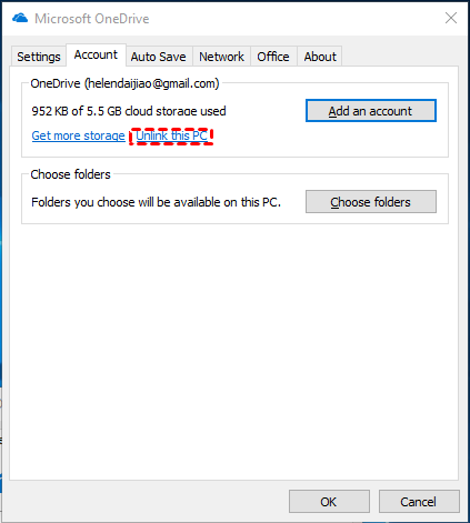 OneDrive Unlink This PC