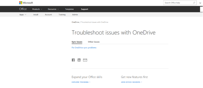 OneDrive Troubleshoot Issues