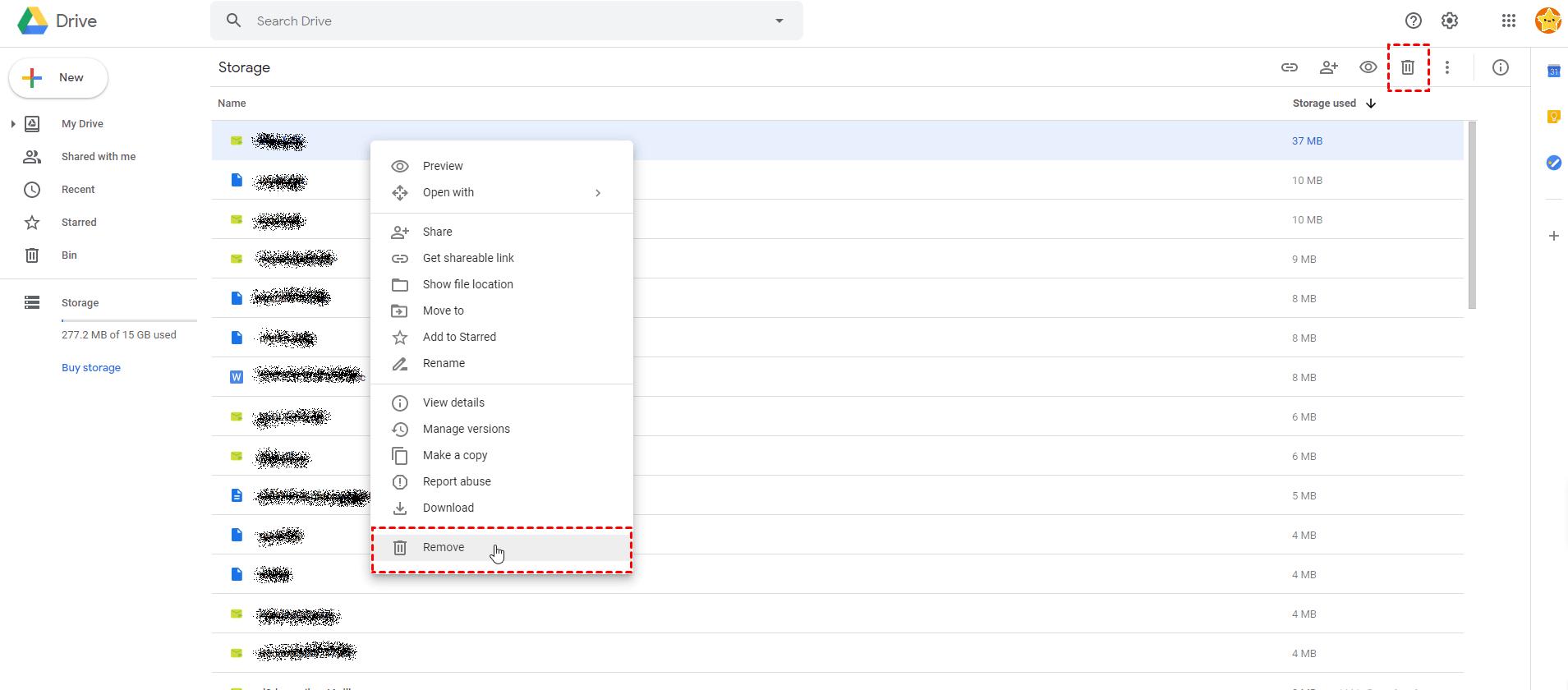 Googledrive Select Remove