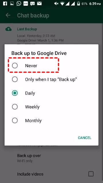 Whatsapp Select Never