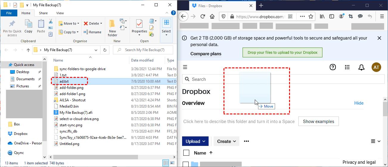 drag and drop files to Dropbox