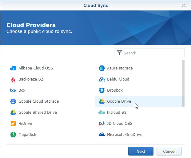 Cloud Sync Select Google Drive