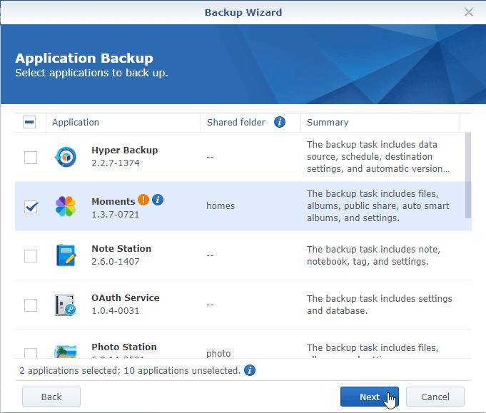 Hyper Backup App Backup