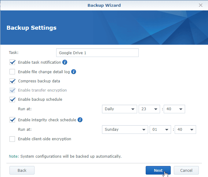 Hyper Backup Backup Settings