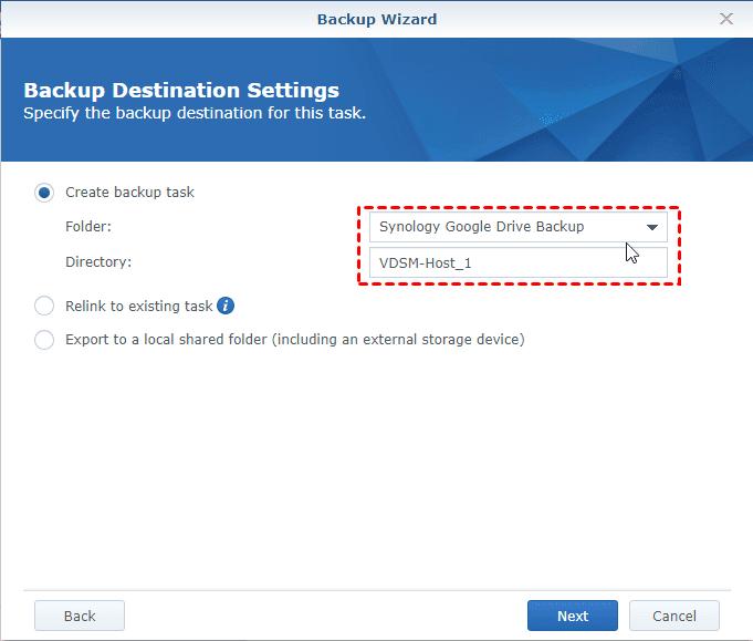 Hyper Backup Create Backup Task