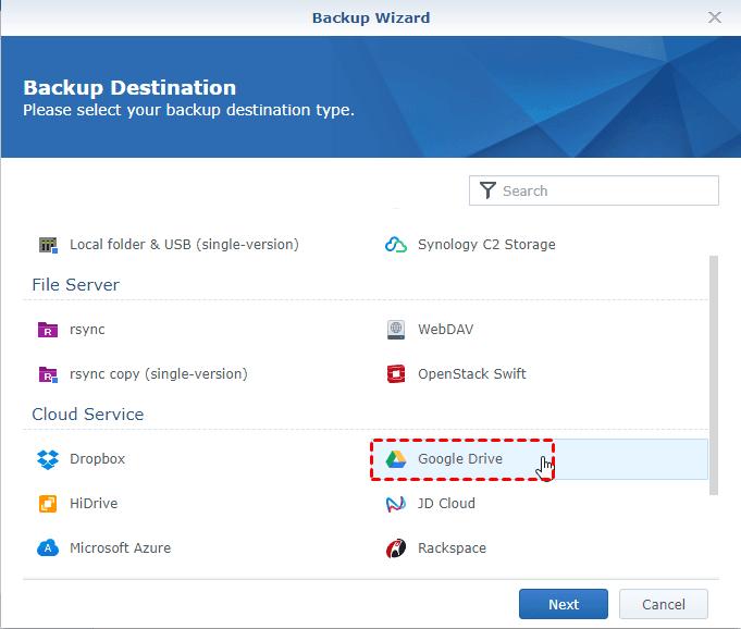 Hyper Backup Select Google Drive