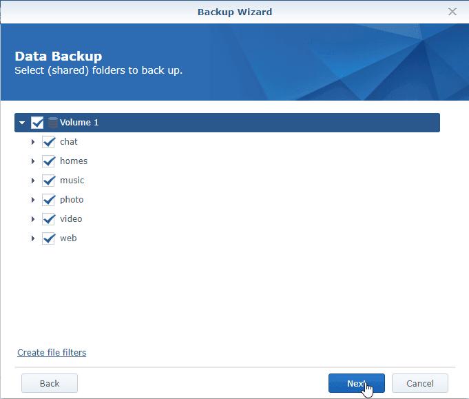 Hyper Backup Select Source