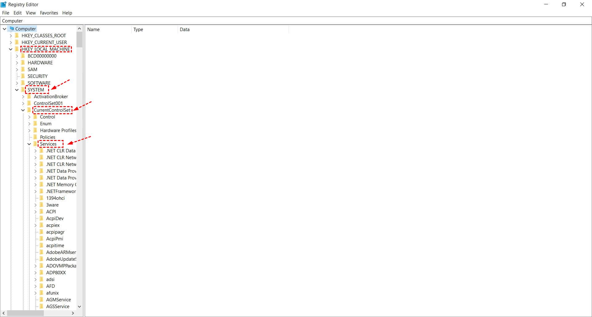 Registry Editor Hklm System Currentcontrolset Services