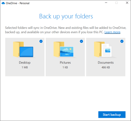 OneDrive Select Files to Backup